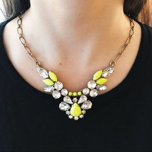 Jcrew Neon Green and Crystal Statement Necklace